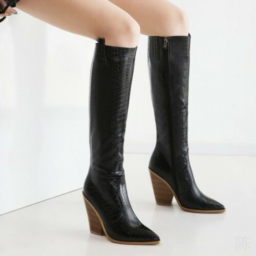 Details about  /3 Colors Women Cowboy 46 47 48 Knee High Boots Chunky Heel Pointy Toe Pumps D