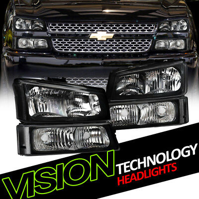 Euro Blk Headlights+Parking Bumper Turn Signal Lamps Nb 03-06 07 Chevy Silverado