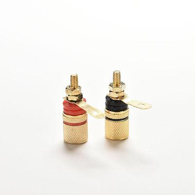 4x Amplifier Speaker Terminal Binding Post Banana Plug Connector Gold Plated SU