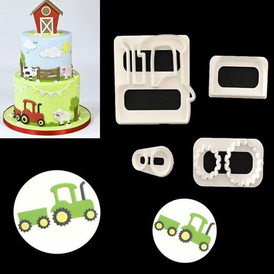 4Pcs Tractor Car Icing Cutter Cookies Mould Fondant Cake Decorating Mold Tool