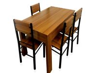 Wood Dining Table and 4 Chairs Furniture Room Set 55£