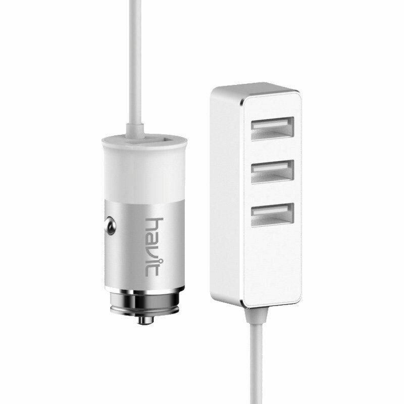 HAVIT Caricatore Auto Universale Cellullare H218 Bianco 4 Porte USB 5.5A