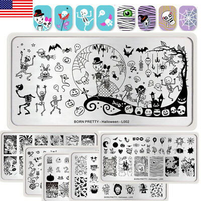 6Pcs BORN PRETTY Nail Art Stamping Plates Set Halloween  Stamp Templates