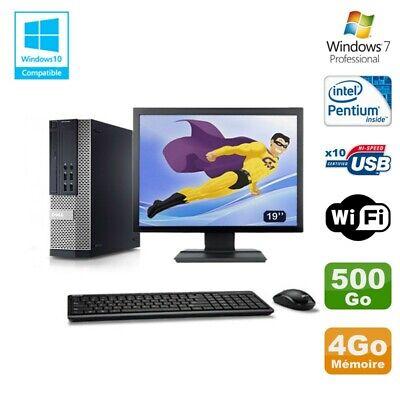 Lot PC DELL Optiplex 7010 SFF G870 DVD 4Go Disque 500Go Wifi Win 7 + Ecran 19