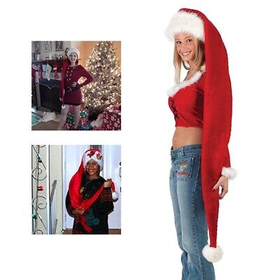 Long Christmas Santa Claus Elf Red White Stocking Costume Holiday Cap Xmas Hat