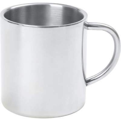 15oz Silver COFFEE MUG Double Wall Insulated Stainless Steel Mug Tumbler Handle