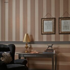 ARTHOUSE DAMASK TAUPE AND OFF WHITE WALLPAPER