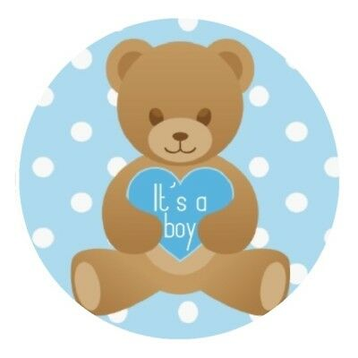 30 it's a boy teddy bear baby shower stickers bag lollipop labels favors blue - Baby Shower Bags