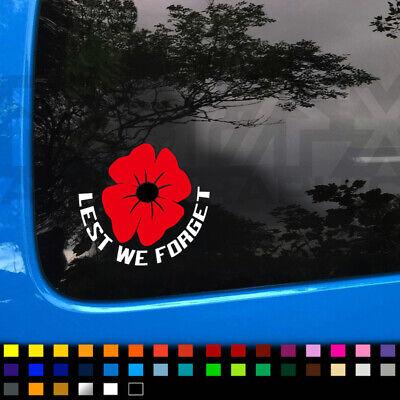 Lest We Forget Car Van Window Vinyl Decal Sticker Memorial Poppy Camper Caravan