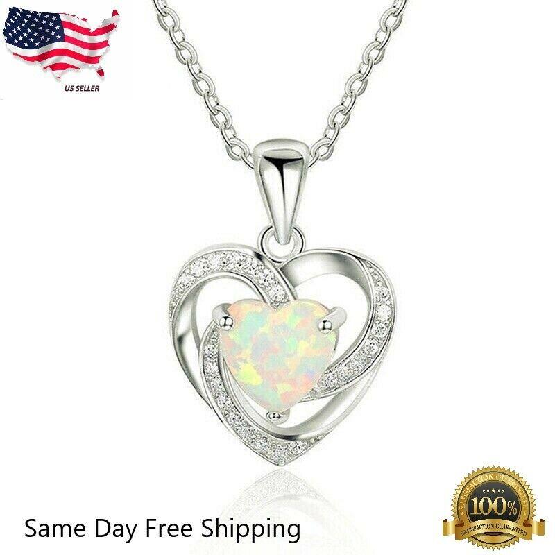 "Jewellery - Women 925 Sterling Silver Plated Faux Opal Heart Cubic Pendant Necklace 18""N128"