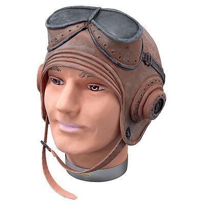 Erwachsene Biggles # Helm 1.weltkrieg Pilot Gummi Fliegende - Pilot Helm Kostüm