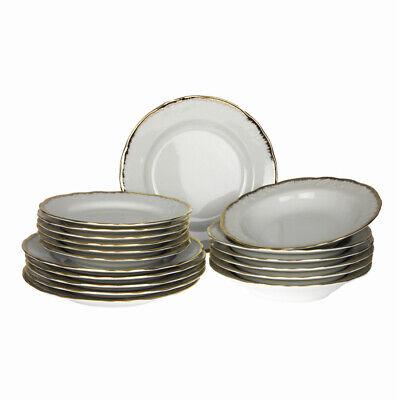 Gold-service Plate (18 Pc Porcelain Dinner Set Kitchen Tableware Round Service Plate Gold Rim Gift)