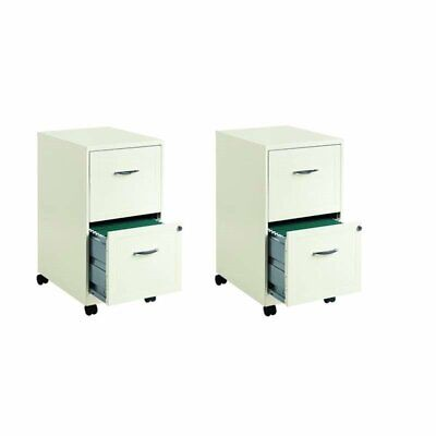 Set Of 2 Mobile Filing Cabinets In White