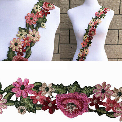 1Yard Flower Leaves Lace Trim Ribbon Applique Embroidered Sewing Craft   DIY Acc Embroidered Ribbon Trim