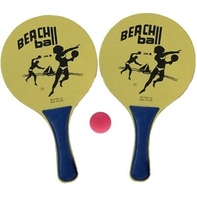 1 Beachball Set Beach Ball 2 Schläger +Ball Strand Spiel Tennis Strandspiel gelb