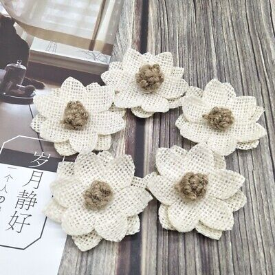 10Pcs Vintage White Handmade DIY Burlap Linen Rope Flowers Wedding Decor Craft](Burlap Wedding Decor)