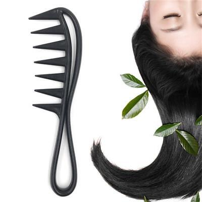 Wide Tooth Shark Curly Hair Salon Hairdressing Black Comb Massage Hot DD