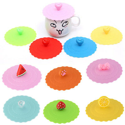 Cup Lids (Cute Glass Cup Cover Silicone Bowknot Cup Cover Coffee Mug Suction Seal Lid)