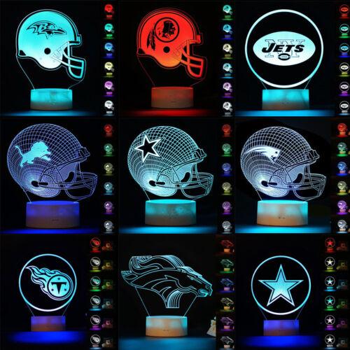 CHICAGO BEARS FOOTBALL 3D Acrylic LED 7 Colour Night Light Touch Table Lamp