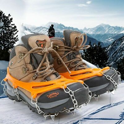 Professional Sale 19 Teeth Stainless Steel Crampons Nylon Strap Non-slip Shoes Cover Outdoor Ski Ice Snow Device Winter Hiking Crampons Cheap Sales Sports & Entertainment Climbing Accessories