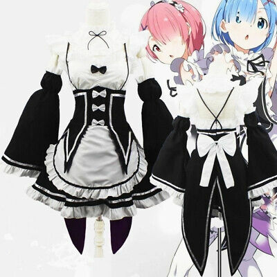 Anime Re:Zero Kara Hajimeru Isekai Seikatsu Ram Rem Kostüme Maid Kleid Cosplay - Anime Maid Cosplay Kostüm
