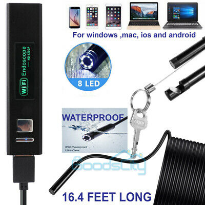 For Iphone Android Ios 16.4ft Wifi Borescope Endoscope Snake Inspection Camera