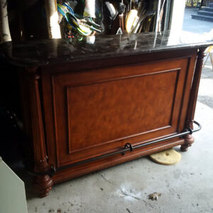 BAR - HAND CRAFTED WOOD WITH MARBLE TOP