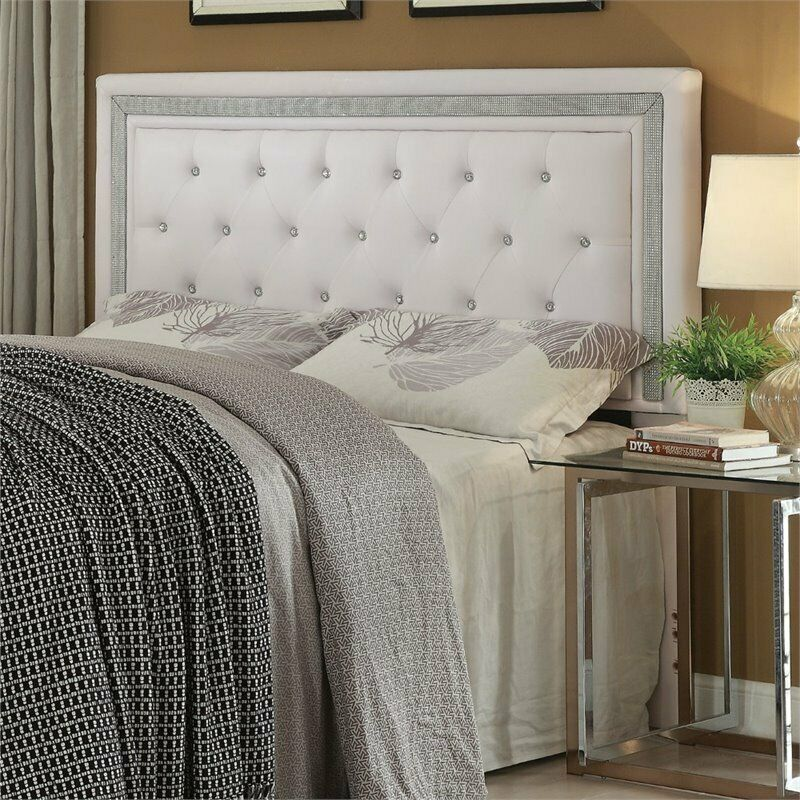 Coaster Andenne Faux Leather Full Queen Panel Headboard in White