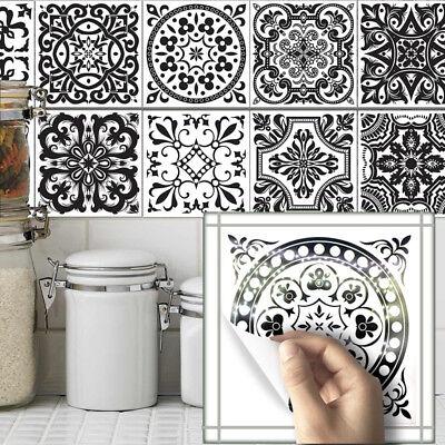 10pcs Black White Self-adhesive Bathroom Kitchen Wall Stair Floor Tile Sticker Black White Bathroom Tile