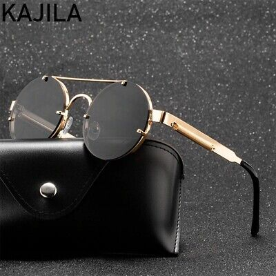 Round Steampunk Sunglasses Unisex Fashion Elastic Temples Brand Designer Vintage
