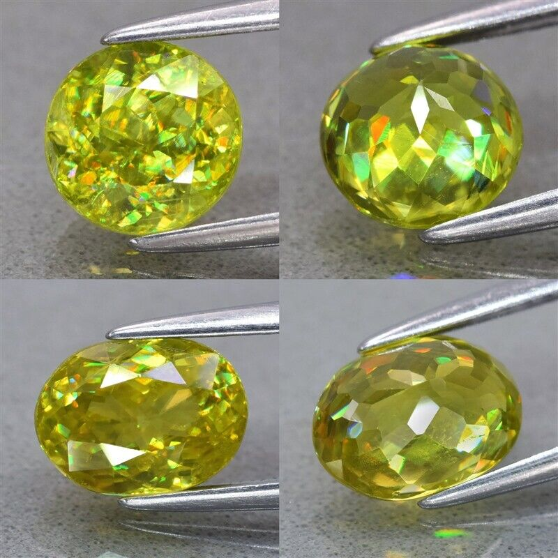 Natural Greenish Yellow With Rainbow Luster Sphene, Madagascar - Round, Oval