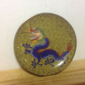 Antique Old Chinese Cloisonne Bronze Dynasty God Beast Dragon Pl