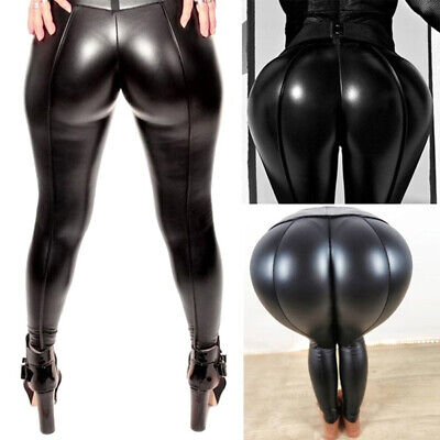 Women Leather Skinny Pants PU Stretchy Hip Push Up Tight High Waist Leggings -