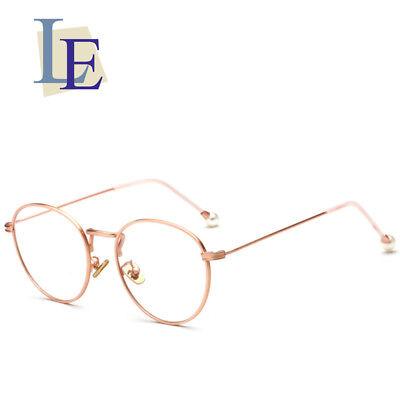 LE Women Round Eyewear Frames Pearl Glasses Metal Optical Prescription Rx Lens (Le Specs Eyewear)