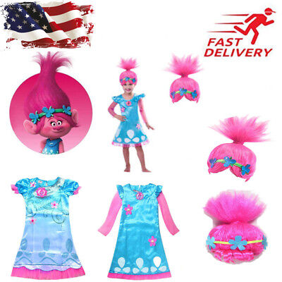 US Poppy Princess Dress Cosplay Costumes For Girl Party Kids Dresses - Troll Costume For Kids
