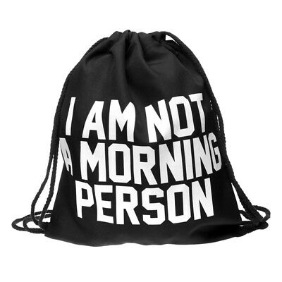 1pc Not Morning Person Non-woven Drawstring Bags Backpack Gym Tote Bag Sport Bag