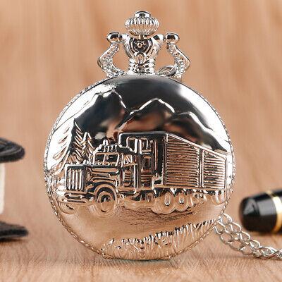 Antique 3D Truck Silver Men Analog Quartz Pocket Watch 80CM Necklace Chain Gift