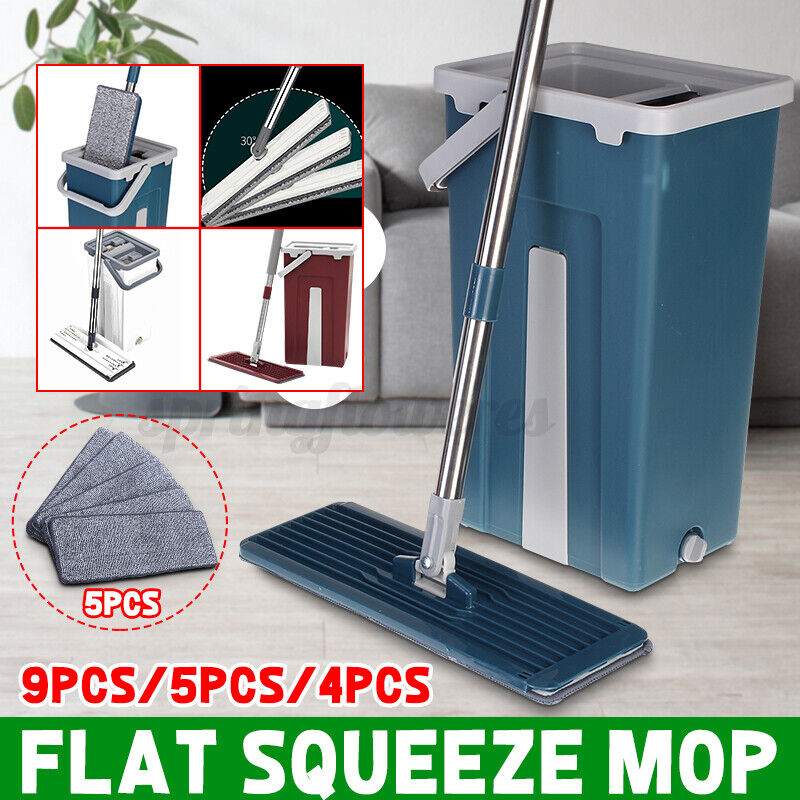 Flat Squeeze Mop And Bucket Hands Free Wringing Floor Cleaning Microfib