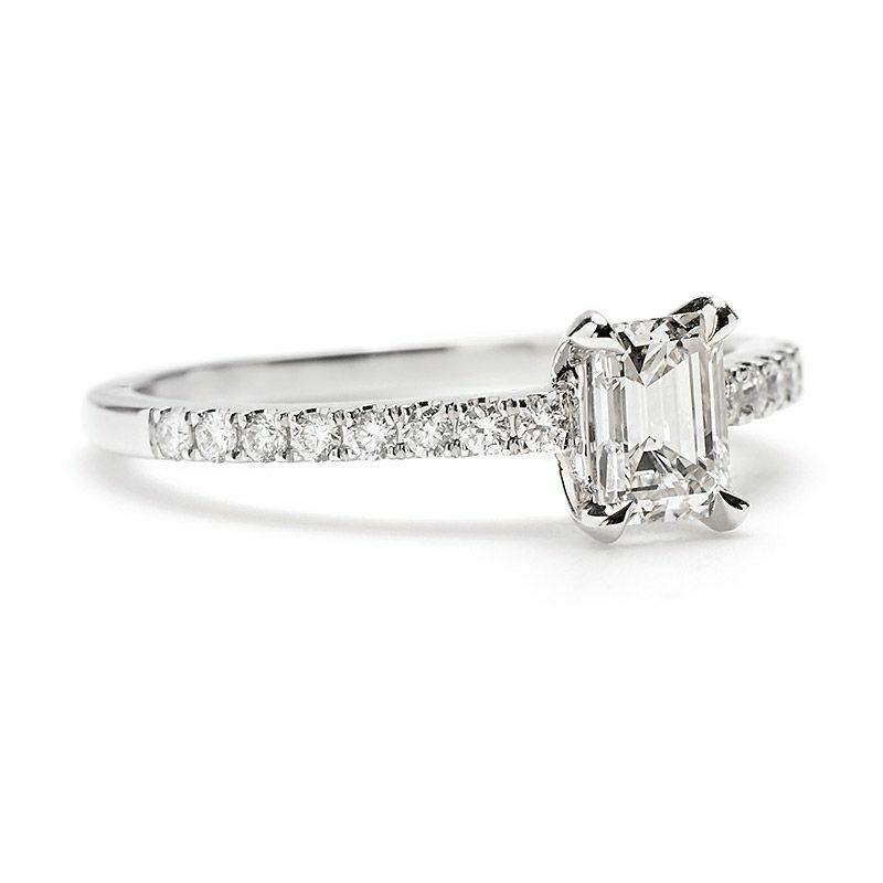 GIA Certified Diamond Engagement Ring 1.32 Carat Emerald & Round Shape 18k Gold 1