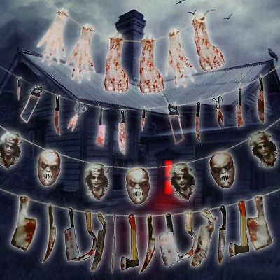 Halloween Faces Bunting Banner Scary Gory Horror Haunted House Party Decorations](Scary Gory Halloween Masks)