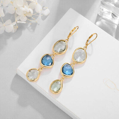 earrings sleeper 3 drop irregular linear blue