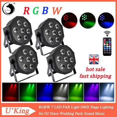 4pcs U'King RGBW 7 LED PAR CAN Light Stage Lighting DMX Party Wedding Disco DJ