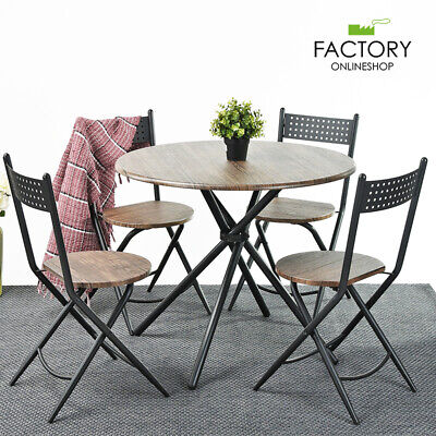 5 Piece Round Dining Table Set 4 Chairs Foldable Wood Brown Kitchen Room Folding Table Chairs Set