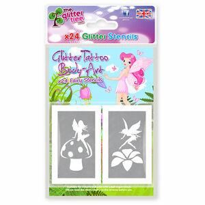 24-x-FAIRY-THEMED-GLITTER-TATTOO-BODY-ART-MIXED-STENCILS