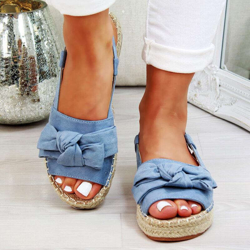Damen Pantoletten Sandalen Flache Schuhe Plateau Bow Strand