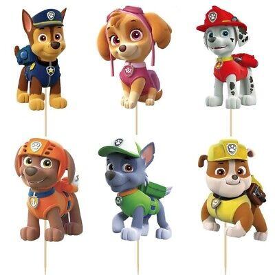 24 Kuchenstecker Topper Paw Patrol Mädchen Cupcake Geburtstag Hund Muffins