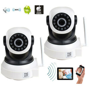 2x ip wireless baby monitor video audio wifi pc remote view security camera wp8. Black Bedroom Furniture Sets. Home Design Ideas