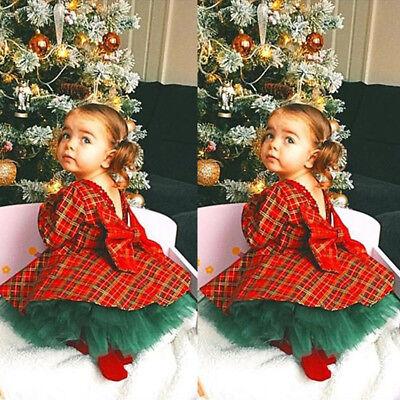 US Christmas Kids Baby Girls Plaid Dress+Tutu Skirts 2pcs Outfits Set Clothes - Girls Apparel