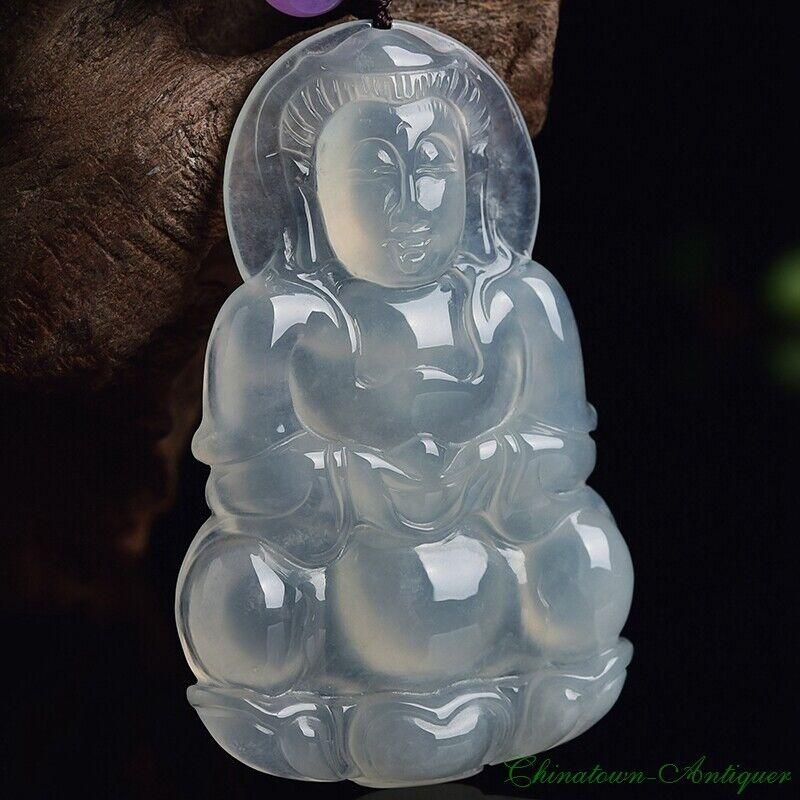 Burma Certified Grade A Ice Jadeite Jade Kwan-yin GuanYin Buddha Pendant #2111