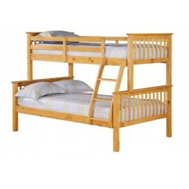TRIPLE BUNK BED ANTIQUE PINE